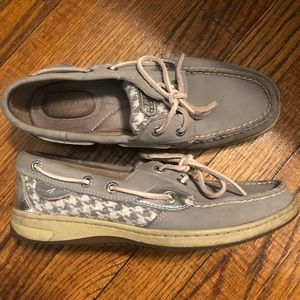 Grey metallic Sperrys size 6.5